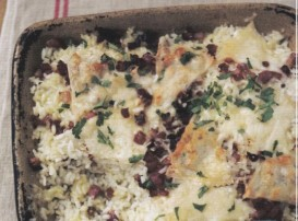 baked rice with fontina and pancetta